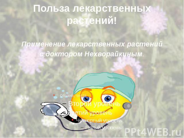 Польза лекарственных растений! Применение лекарственных растений с доктором Нехворайкиным.