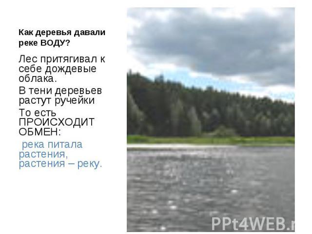 Как деревья давали реке ВОДУ? Лес притягивал к себе дождевые облака.В тени деревьев растут ручейкиТо есть ПРОИСХОДИТ ОБМЕН: река питала растения, растения – реку.