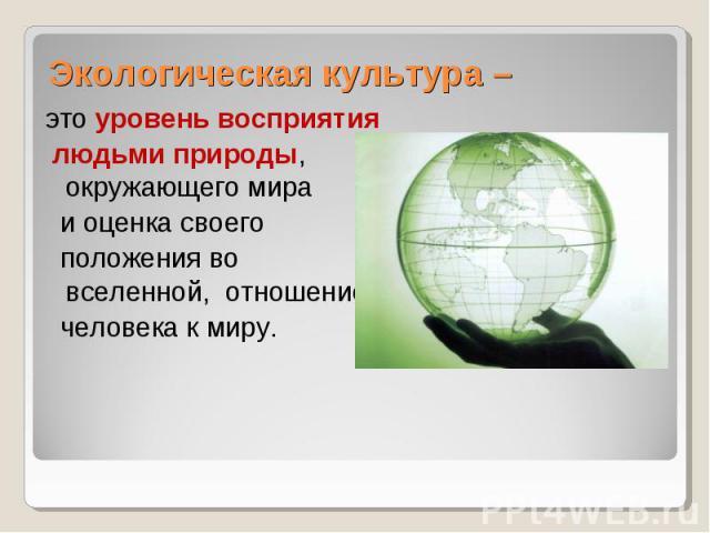 Экологическая культура – это уровень восприятия людьми природы, окружающего мира и оценка своего положения во вселенной, отношение человека к миру.