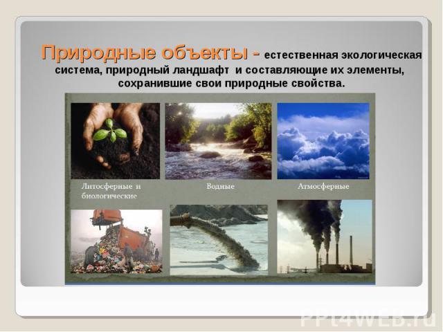 Природные объекты - естественная экологическая система, природный ландшафт и составляющие их элементы, сохранившие свои природные свойства.