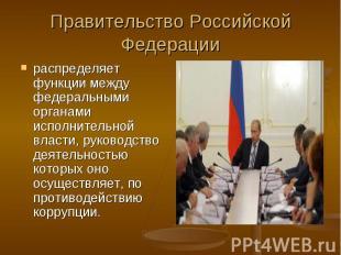 Правительство Российской Федерации распределяет функции между федеральными орган