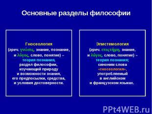 Основные разделы философии Гносеология(греч. γνώσις, знание, познание,и λόγος, с