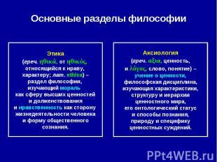 Основные разделы философии Этика(греч. ηθικά, от ηθικός, относящийся к нраву, ха