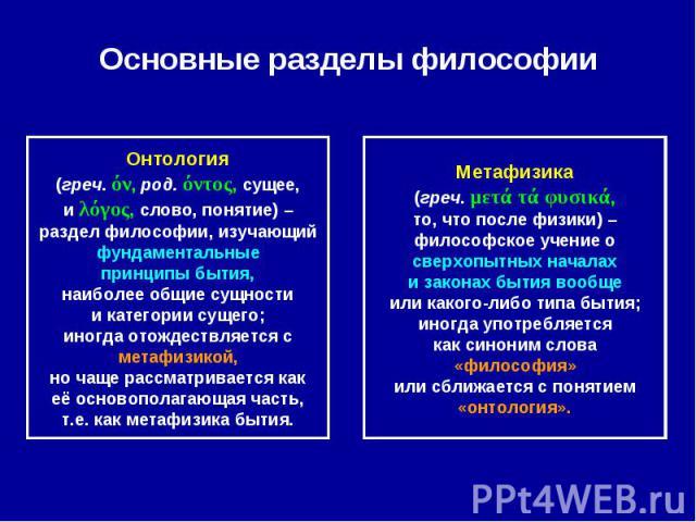 Основные разделы философии Онтология(греч. όν, род. όντος, сущее,и λόγος, слово, понятие) –раздел философии, изучающийфундаментальныепринципы бытия,наиболее общие сущностии категории сущего;иногда отождествляется сметафизикой,но чаще рассматривается…