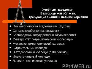 Учебные заведения Белгородской области, требующие знания и навыки черчения Техно