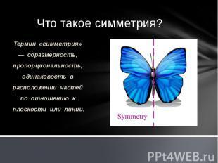 Что такое симметрия? Термин «симметрия» — соразмерность, пропорциональность, оди