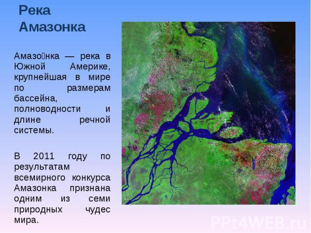 Река Амазонка Амазонка — река в Южной Америке, крупнейшая в мире по размерам бассейна, полноводности и длине речной системы. В 2011 году по результатам всемирного конкурса Амазонка признана одним из семи природных чудес мира.