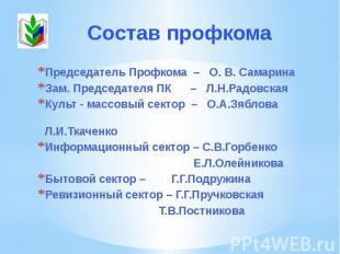 Председатель Профкома – О. В. Самарина Председатель Профкома – О. В. Самарина За
