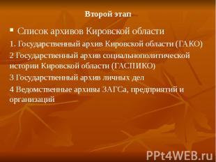 Второй этапСписок архивов Кировской области1. Государственный архив Кировской об
