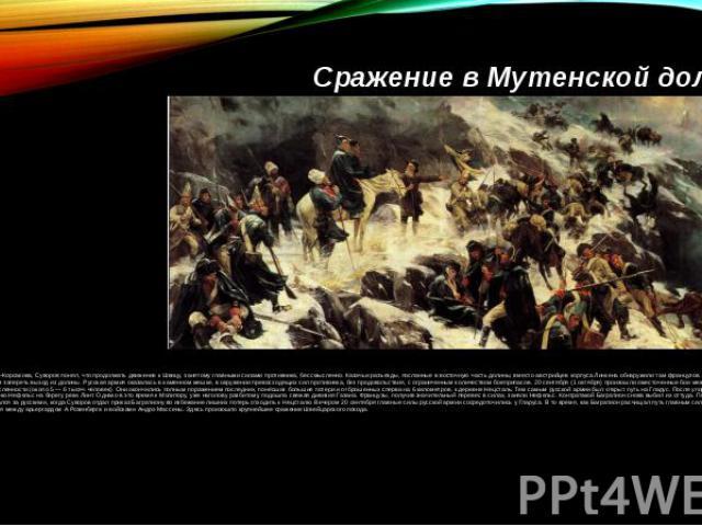 Сражение в Мутенской долинеУзнав о поражении Римского—Корсакова, Суворов понял, что продолжать движение к Швицу, занятому главными силами противника, бессмысленно. Казачьи разъезды, посланные в восточную часть долины, вместо австрийцев корпуса Линке…