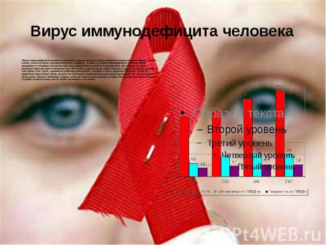 Вирус иммунодефицита человека Вирус иммунодефицита человека отличается от других вирусов и представляет большую опасность именно тем, что атакует клетки, которые и должны бороться с вирусом. К счастью, вирус иммунодефицита человека (ВИЧ) передаётся …