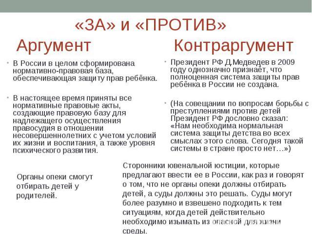 Президент РФ Д.Медведев в 2009 году однозначно признаёт, что полноценная система защиты прав ребёнка в России не создана.Президент РФ Д.Медведев в 2009 году однозначно признаёт, что полноценная система защиты прав ребёнка в России не создана.(На сов…