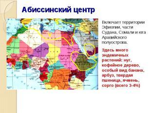 Включает территории Эфиопии, части Судана, Сомали и юга Аравийского полуострова.