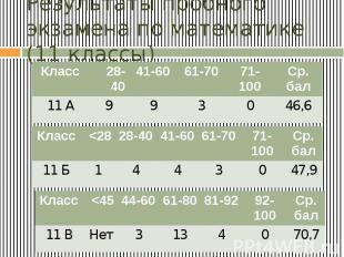 Результаты пробного экзамена по математике (11 классы)
