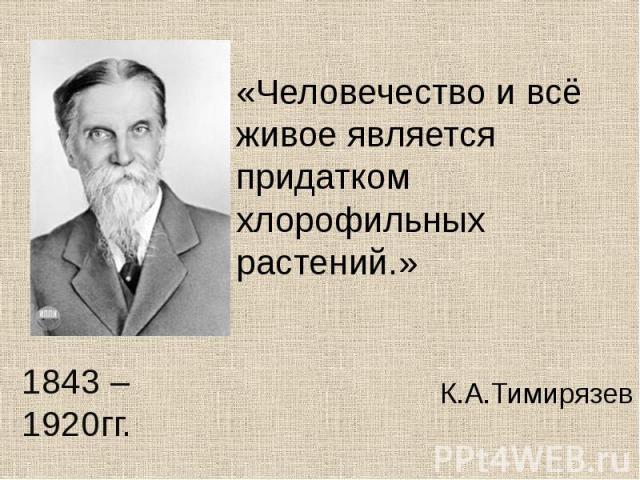 «Человечество и всё живое является придатком хлорофильных растений.» К.А.Тимирязев