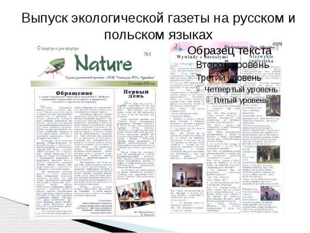 Выпуск экологической газеты на русском и польском языках