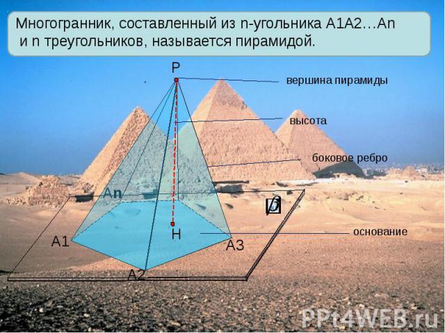 Многогранник, составленный из n-угольника А1А2…Аn и n треугольников, называется пирамидой.