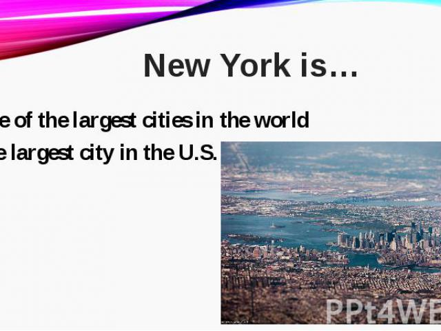 one of the largest cities in the worldone of the largest cities in the worldthe largest city in the U.S.