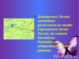 Центрально-Лесной заповедник расположен на западе Европейской части России, на г