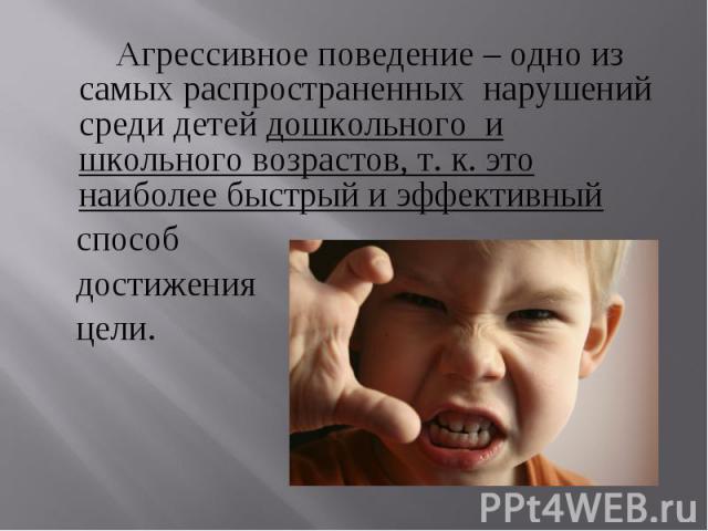 Агрессивное поведение – одно из самых распространенных нарушений среди детей дошкольного и школьного возрастов, т. к. это наиболее быстрый и эффективный способ достижения цели.