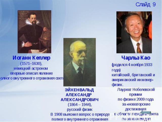 Иоганн Кеплер (1571–1630), немецкий астроном впервые описал явлениеполного внутреннего отражения светаЭЙХЕНВАЛЬД АЛЕКСАНДР АЛЕКСАНДРОВИЧ(1864 – 1944),русский физикВ 1908 выяснил вопрос о природе полного внутреннего отражения светаЧарльз Као (родился…