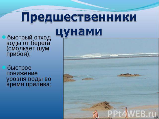 Предшественники цунамибыстрый отход воды от берега (смолкает шум прибоя); быстрое понижение уровня воды во время прилива;