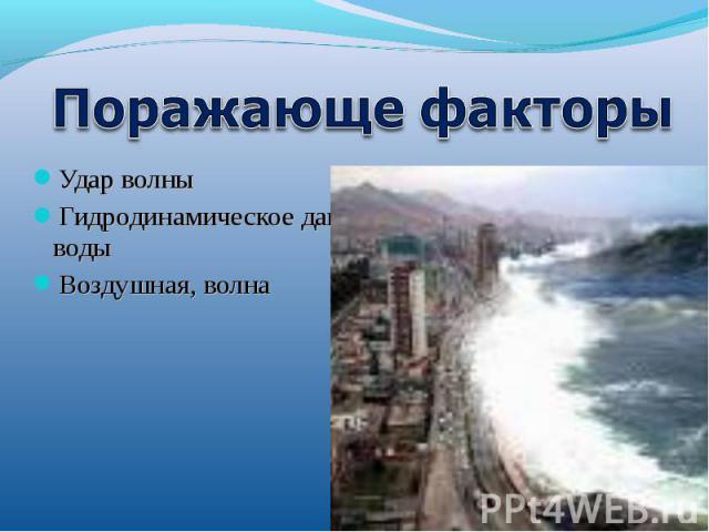Удар волныУдар волныГидродинамическое давление водыВоздушУдар волныГидродинамическое давление водыВоздушная, волнаная, волна