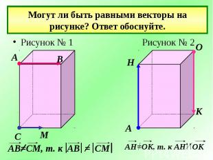 Могут ли быть равными векторы на рисунке? Ответ обоснуйте.Рисунок № 1 Рисунок №