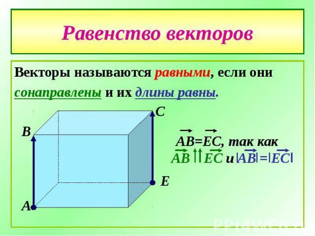 Равенство векторовВекторы называются равными, если они сонаправлены и их длины равны.
