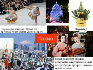 Борцы сумо отмечают Новый год ритуалом перед хамом Меидзи Дзингу.Город знаменит