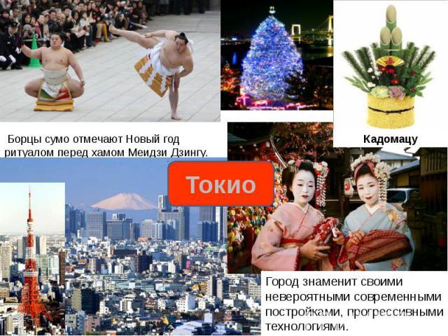Борцы сумо отмечают Новый год ритуалом перед хамом Меидзи Дзингу.Город знаменит своими невероятными современными постройками, прогрессивными технологиями.