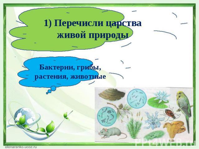 1) Перечисли царства живой природыБактерии, грибы, растения, животные