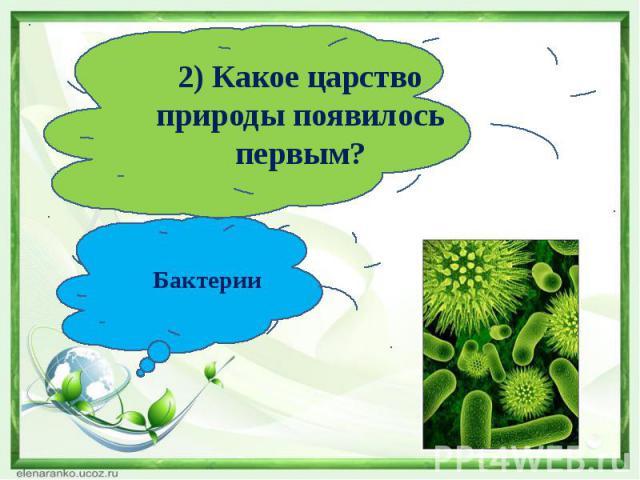 2) Какое царство природы появилось первым?Бактерии