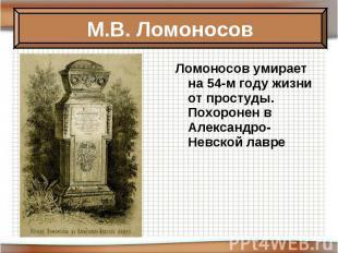 Ломоносов умирает на 54-м году жизни от простуды. Похоронен в Александро-Невской