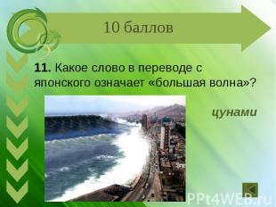 11. Какое слово в переводе с японского означает «большая волна»? цунами