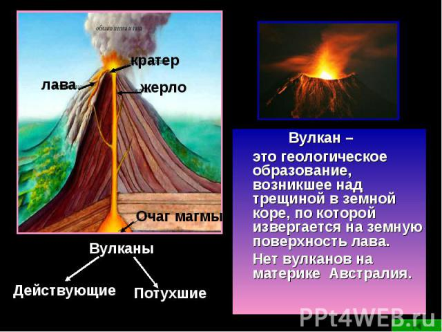 Вулкан – это геологическое образование, возникшее над трещиной в земной коре, по которой извергается на земную поверхность лава. Нет вулканов на материке Австралия.