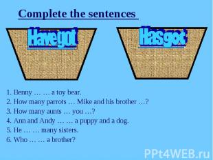 Complete the sentences 1. Benny … … a toy bear.2. How many parrots … Mike and hi