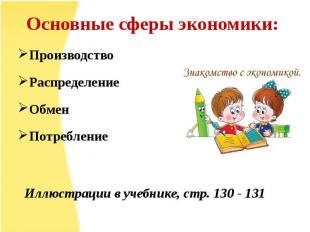 Основные сферы экономики: ПроизводствоРаспределениеОбменПотребление Иллюстрации