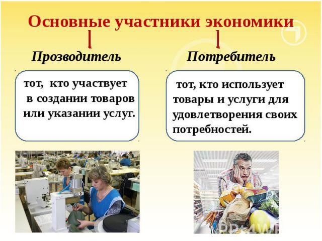 Основные участники экономики Прозводитель