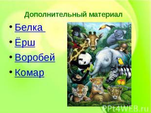 Дополнительный материал Белка ЁршВоробей Комар
