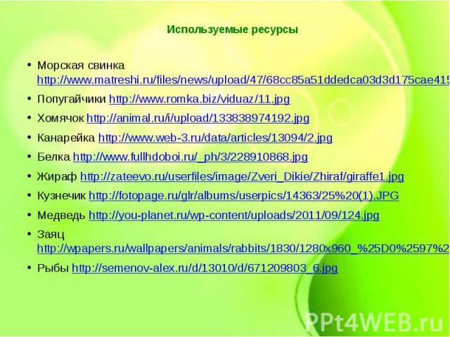 Используемые ресурсыМорская свинка http://www.matreshi.ru/files/news/upload/47/68cc85a51ddedca03d3d175cae4155b3.jpgПопугайчики http://www.romka.biz/viduaz/11.jpgХомячок http://animal.ru/i/upload/133838974192.jpgКанарейка http://www.web-3.ru/data/art…