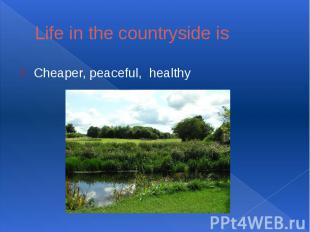 Life in the countryside isCheaper, peaceful, healthy