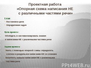 Проектная работа «Опорная схема написания НЕ с различными частями речи»I этапПос