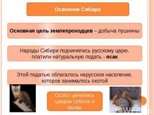 Основная цель землепроходцев – добыча пушниныНароды Сибири подчинялись русскому