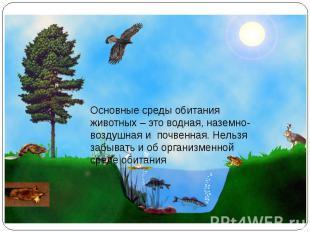 Основные среды обитания животных – это водная, наземно-воздушная и почвенная. Не
