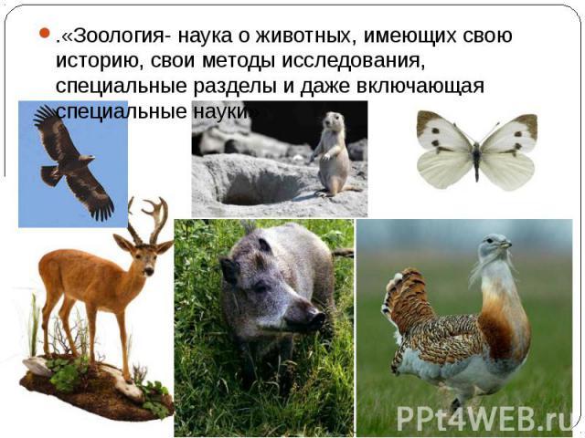 .«Зоология- наука о животных, имеющих свою историю, свои методы исследования, специальные разделы и даже включающая специальные науки»