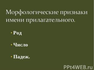 Морфологические признаки имени прилагательного.РодЧислоПадеж.
