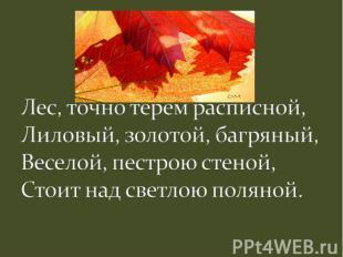 Лес, точно терем расписной,Лиловый, золотой, багряный,Веселой, пестрою стеной,Ст