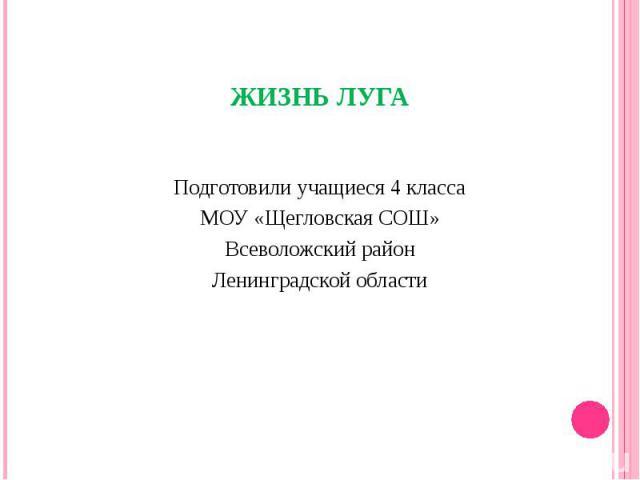 Подготовили учащиеся 4 классаМОУ «Щегловская СОШ»Всеволожский районЛенинградской области