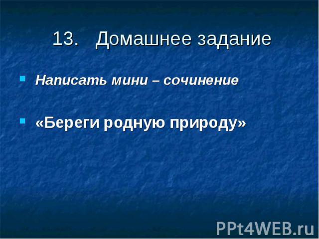 13. Домашнее заданиеНаписать мини – сочинение «Береги родную природу»